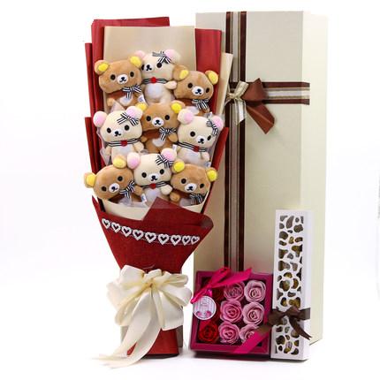 ช่อดอกไม้ตุ๊กตาการ์ตูน Rilakkuma (มีให้เลือก 8 แบบ)