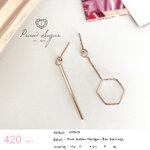 Pink Golden Hexagon-Bar Earrings (เรือนทำจากเงินแท้)