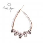 Luxurious Floral Crystal Pink Grey Necklace