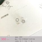 Silver Circle & Square Tiny Earrings (ตัวเรือนทำจากเงินแท้)