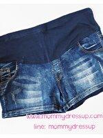 กางเกงยีนส์ขาสั้น ผ้ายีนส์ฟอกสียีนส์เข้ม ผ้านิ่มใส่สบายค่ะ เอวปรับระดับได้ตามอายุครรภ์