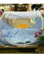 มุ้งกันยุง+ที่นอน พับเก็บได้สีฟ้า น่ารักมากๆค่ะ