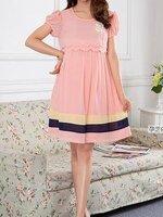 #Dressกระโปรงคลุมท้องแฟชั่น ผ้าชีฟอง สีโอรส แขนสั้น พร้อมเชือกผูกหลัง มีซับในใส่สบายรูปทรงน่ารักมากๆคะ