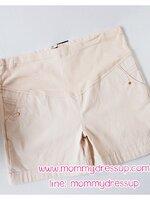 กางเกงขาสั้นสีครีม มีกระดุมทอง 1 เม็ดตรงกระเป่า ผ้านิ่มใส่สบายค่ะ เอวปรับระดับได้ตามอายุครรภ์