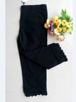 กางเกงคลุมท้อง ยีนส์5ส่วน สีดำปลายขาแต่งระบาย มีพยุงหน้าท้อง เอวมีสายปรับระดับได้