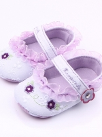 รองเท้าเด็กอ่อน 0-12เดือน รองเท้าเด็กชาย เด็กหญิง สีขาวลายดอกม่วง
