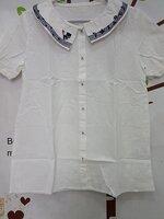 #เสื้อคลุมท้องแฟชั่น ผ้าฝ้ายสีขาวคอบัวแขนสั้นกระดุมหน้า ปักลายแมวที่ปกเสื้อ+คาดลายสีน้ำเงิน ทรงสวยจร้าใส่สบาย สำเนา