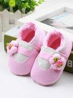 รองเท้าเด็กอ่อน 0-12เดือน รองเท้าเด็กชาย เด็กหญิง สีชมพูลายดอกไม้