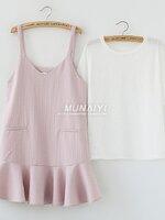 เซ็ตเอี้ยมคลุมท้อง เสื้อแขนสั้นสีขาว + เอี้ยมสีชมพู งานดีน่ารักมากๆค่ะ เหมาะกับคุณแม่ตัวเล็กค่ะ