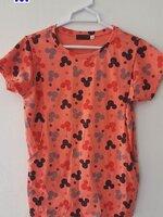 #เสื้อคลุมท้องเปิดให้นม ผ้ายืดสีส้มลาย คอกลมแขนสั้น สามารถใส่หลังคลอดได้เลยจร้า ผ้านิ่มใส่สบายจร้า
