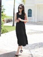 เดรสคลุมท้องแขนกุดสีดำ ผ้ายืดเด้งทิ้งตัวเย็บต่อเป็นชั้น + เสื้อคลุมแขนยาวสีดำ ผ้านิ่ม ใส่สบายมากค่ะ