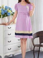 #Dressกระโปรงคลุมท้องแฟชั่น ผ้าชีฟอง สีม่วง แขนสั้น พร้อมเชือกผูกหลัง มีซับในใส่สบายรูปทรงน่ารักมากๆคะ