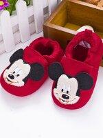 รองเท้าเด็กอ่อน 0-12เดือน รองเท้าเด็กชาย เด็กหญิง สีแดงลายมิกกี้เมาส์