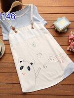 #เสื้อคลุมท้อง น่ารักๆ ลายหมี+เป็ด เสื้อคอกลมแขนสั้นสีฟ้าเย็บติดเอี้ยมสีขาว ผ้านิ่มใส่สบาย น่ารักๆจ้า