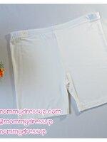 กางเกงเลกกิ้งขาสั้น สีขาว เอวปรับระดับได้