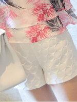 กางเกงพยุงหน้าท้อง ขาสั้นสีขาวลายกลมๆ มีกระเป๋า2ข้าง เอวปรับสายได้ น่ารักมากค่ะ