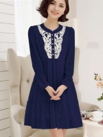 #Dressกระโปรง ผ้าชีฟองสีน้ำเงิน ปักลายช่วงอกสีขาว แขนยาว ผ้าเนื้อนิ่มใส่สบายไม่ร้อนคะ
