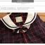 เสื้อทรงญี่ปุ่น สีกรมท่าแขนยาว ตัดเส้นลายตารางสีแดง คอบัวมีสายผูกโบว์ที่คอ น่ารักมากๆค่ะ thumbnail 7