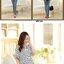 กางเกงคนท้องยีนส์ยืดขายาว ปักลายหัวใจที่กระเป๋าด้านหน้า ด้านหลังปักลายปากแดง ปรับเอวได้ size L, XL, XXL thumbnail 2