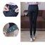 เลกกิ้งคนท้องขายาว สีดำ ปลายขาพับสีเขียวแต่งมุก น่ารักมากๆ เอวปรับสายได้ค่ะ thumbnail 4