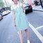 เดรสคลุมท้องทรงเอี้ยม เสื้อขาวเย็บติดกับเอี้ยมสีเขียวอมฟ้า มีโบว์ติดกลางอก น่ารักมากๆค่ะ thumbnail 3