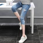 กางเกงยีนส์ขา5ส่วน ผ้ายีนส์ยืดฟอกขาด แนวๆ ผ้านิ่มใส่สบายค่ะ size L