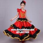 ชุดฟลาเมงโก Flamenco Girl ชุดเต้นรำประจำชาติสเปนเด็ก (กระโปรงเป็นทรงครึ่งวงกลม) ชุดแฟนซีนานาชาติของสเปน สำหรับ 105-145 ซม
