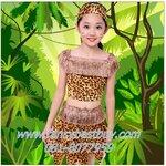 ชุดแฟนซีเด็กหญิง ชุดทาร์ซาน ชุดคนป่า ชุดชนเผ่าพื้นเมือง ชุดมนุษย์ยุคหิน มีขนาด 110, 120, 130, 140, 150 (คู่กับชุดเด็กชาย FB38003)