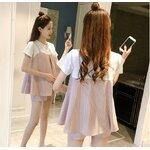 เสื้อยืดสีขาวเย็บต่อกับผ้าชมพูลายเส้นสายเดี่ยว + กางเกงพยุงหน้าท้องลายเส้นสีชมพู size L