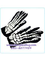 ถุงมือประกอบชุดผีโครงกระดูก สำหรับวันฮาโลวีน Skeleton ขนาดฟรีไซด์ ยาว 20 ซม. เหมาะกับเด็ก 6 ขวบขึ้นไป