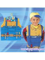 ชุดช่าง แบบผ้าพิมพ์ลาย ใช้ได้ทั้งเด็กชายและเด็กหญิง (เสื้อ+หมวก ) ขนาดฟรีไซด์ สำหรับเด็ก 90-125 ซม. อายุ 3-7 ขวบ