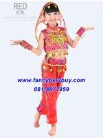 ชุดเประจำชาติอินเดียเด็กหญิง ชุดแฟนซีนานาชาติของอินเดีย สีแดง อุปกรณ์ครบตามรูป ขนาด 110, 120, 140