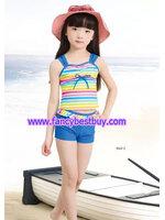 ชุดว่ายน้ำเด็กหญิง แบบ 2 ชิ้น เสื้อ+กางเกง สีฟ้า มีขนาด L, XL, XXL