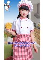 ชุดพ่อครัว ชุดแม่ครัว ชุดเชฟ ชุดChef แขนสั้นสีแดง ใช้งานได้จริง ใช้ได้ทั้งเด็กชายและเด็กหญิง (เสื้อสีขาว+หมวก+ผ้ากันเปื้อน ) มีขนาดสำหรับ 90-150 ซม.