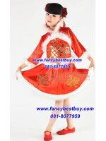 ชุดประจำชาติจีน สำหรับวันปีใหม่จีน วันตรุษจีน สำหรับ เด็กหญิง สีแดง มี ขนาด 100-130