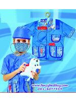 ชุดแฟนซีสัตวแพทย์ คุณหมอสัตว์ ใช้ได้ทั้งเด็กชายและเด็กหญิง (เสื้อ+หมวก+อุปกรณ์ 5 ชิ้น) ขนาดฟรีไซด์สำหรับเด็ก 100-125 ซม.