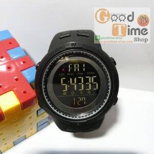 นาฬิกาข้อมือ SKMEI กันน้ำหน้าดำจอดำ สายดำด้าน พร้อมกล่อง