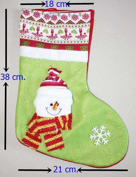 ถุงเท้าขนาดใหญ่สำหรับใส่ของขวัญ จาก Santa Claus ลาย SNOWMAN ขนาด 38*18*21 ซม. (สวยมาก เด็กๆ ชอบ) (ไม่ต้องซื้อคู่ชุดแฟนซี)