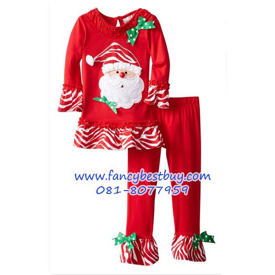 ชุดคริสมาสเด็กหญิง เสื้อลาย SANTA+กางเกง Christmas Costume สำหรับ เทศกาลวันคริสมาส มีขนาด 90, 100, 130