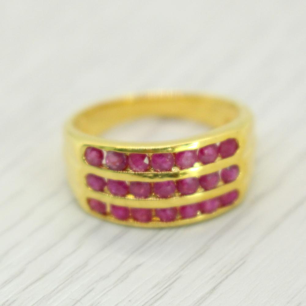 แหวนพลอยทับทิมแท้ หุ้มทองคำแท้ ไซส์ 57