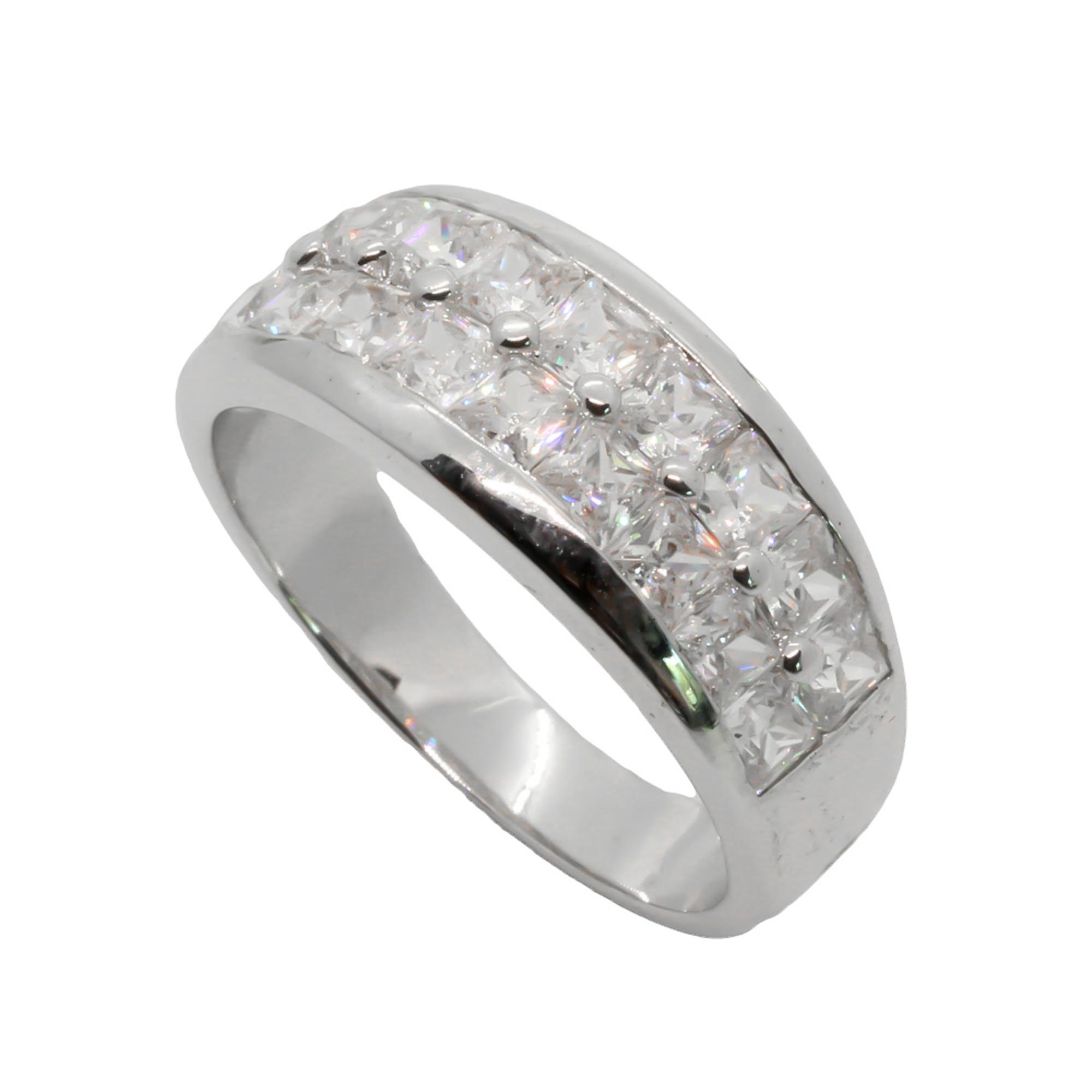 แหวนเพชรCZ หุ้มทองคำขาวแท้ ไซส์ 60