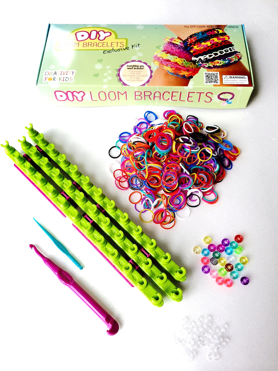 ชุดถักซิลิโคน Loom Band ชุด New DIY Loom Bracelets Exclusive Kit (Ex Set)