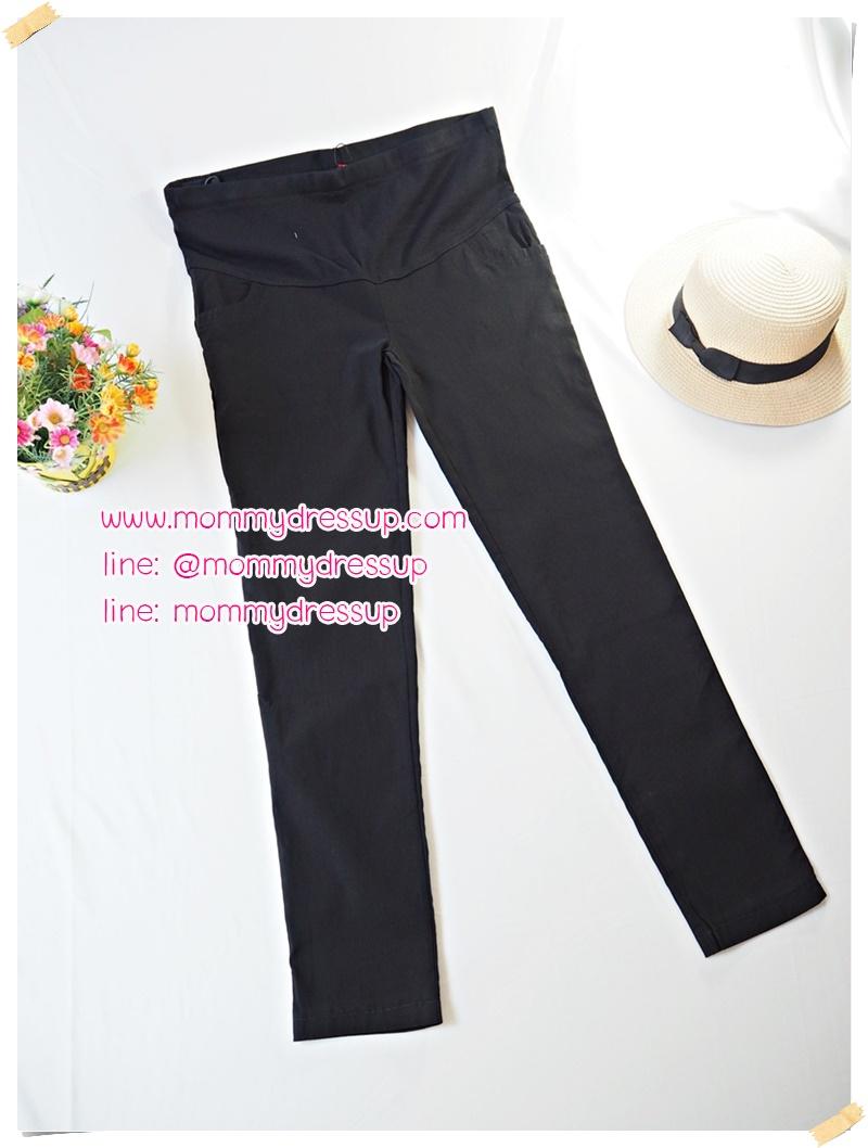 กางเกงขายาวทำงานสีดำขาเดฟ ผ้านิ่มใส่สบายค่ะ เอวปรับระดับได้ตามอายุครรภ์ น่ารักมากๆค่ะ