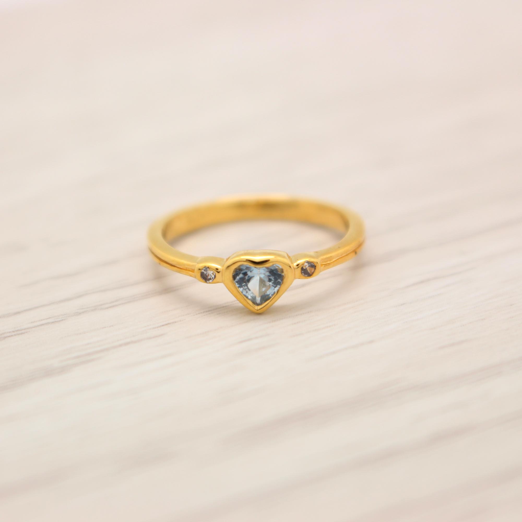 แหวนเพชรCZ สีฟ้า หุ้มทองคำแท้ ไซส์ 50