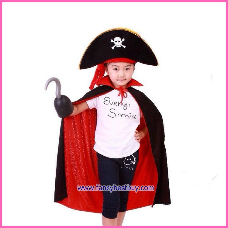 ชุดโจรสลัดเด็ก ใช้ได้ทั้งเด็กชายและเด็กหญิง ขนาดฟรีไซด์ ประกอบด้วย หมวกแบบนิ่ม+ผ้าคลุม 80 ซม. +มือตะขอ