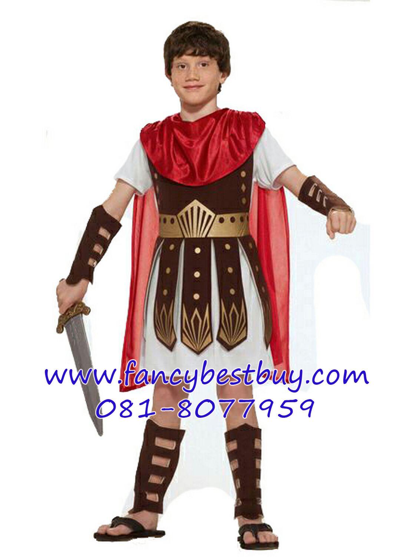 ชุดแฟนซีเด็ก ชุดนักรบโรมันหรือชุดนักรบกรีก รุ่นนี้มีปลอกแขนและขาอย่างละคู่ ไม่รวมดาบ มีขนาด 110-165 ซม.