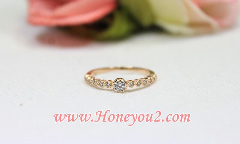 แหวน Pink gold เพชรกลางใหญ่
