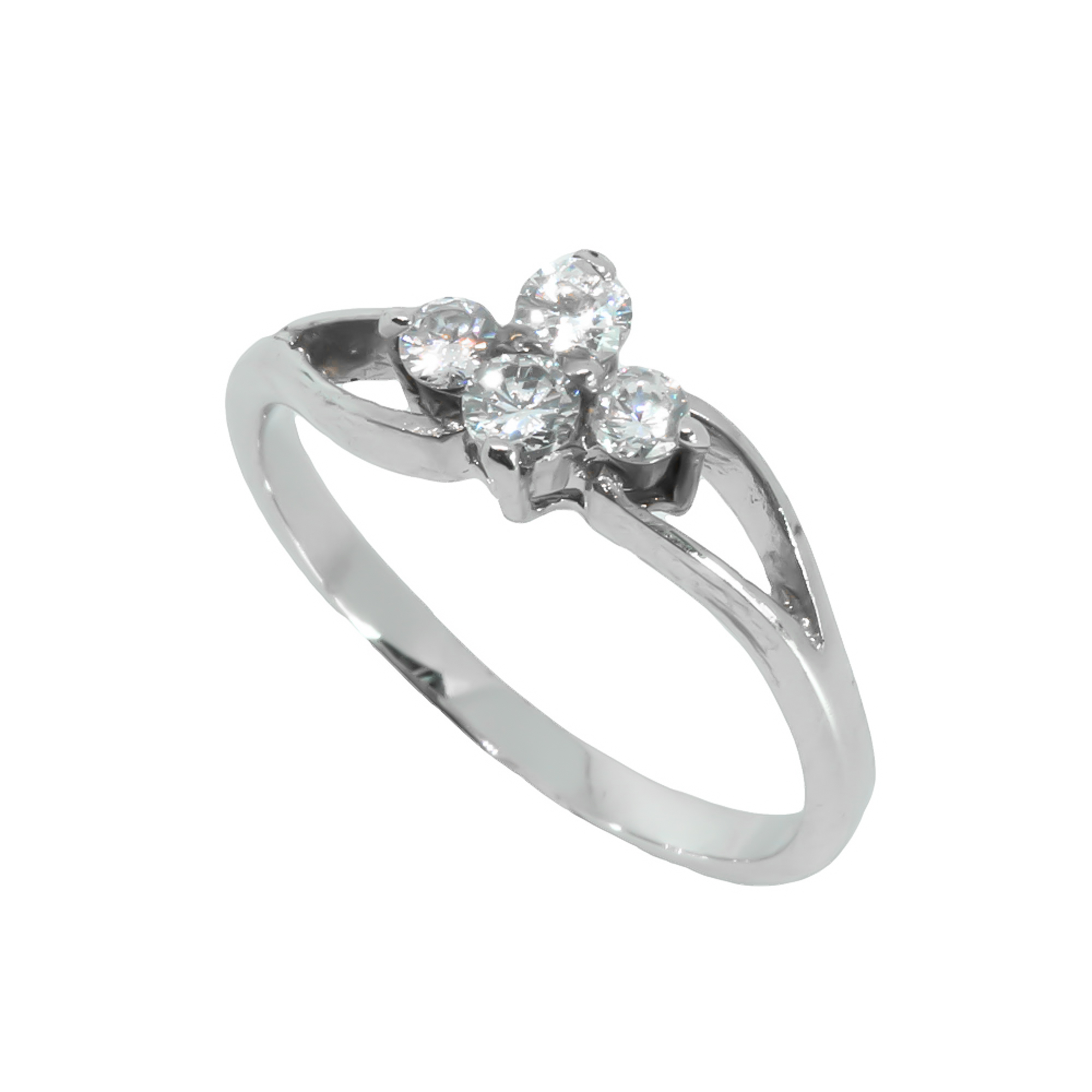 แหวนเพชรCZ หุ้มทองคำขาวแท้ ไซส์ 54