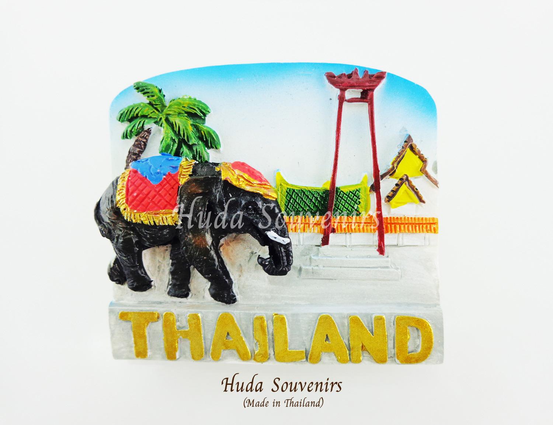 ของที่ระลึกไทย แม่เหล็กติดตู้เย็น ลวดลายช้าง เสาชิงช้าเอกลักษณ์ไทย