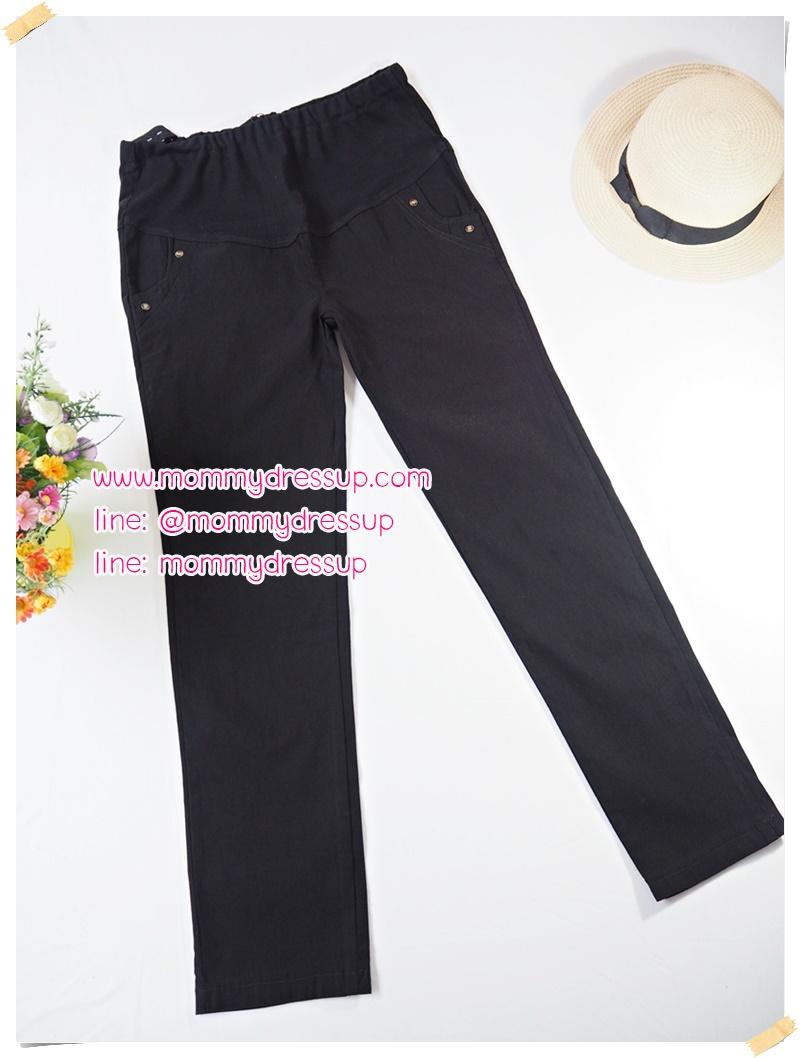 กางเกงขายาวทำงานสีดำขาเดฟ แต่งกระดุม 2 เม็ดที่กระเป๋าหน้า เอวปรับระดับได้